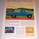 1959 Color Print Ad GMC Blue Pickup Truck Farming Art