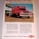 1959 Color Print Ad Chevrolet Model 6503 Stock Grain Body Farm Truck