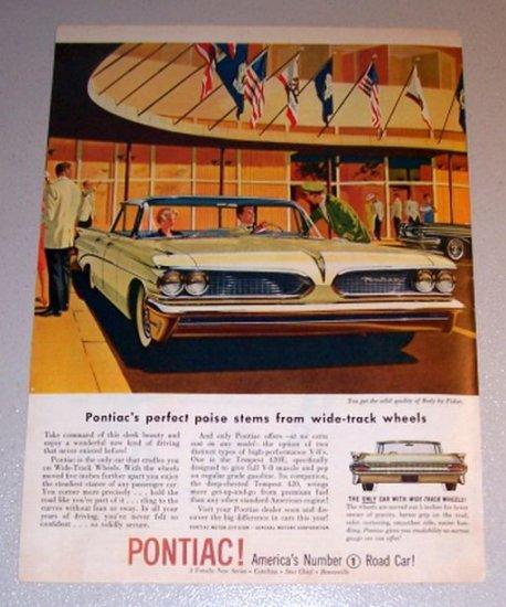 1959 Color Car Print Ad Pontiac Bonneville Automobile