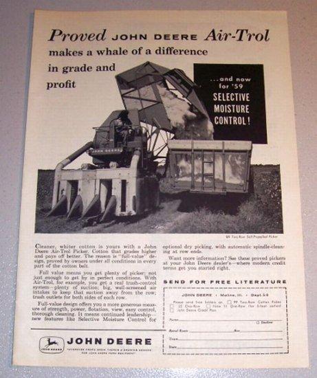 1959 Print Ad John Deere Air-Trol 99 Two Row Self Propelled Picker