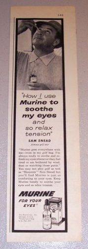 1959 Print Ad Murine Eye Drops Golf Celebrity Sam Snead
