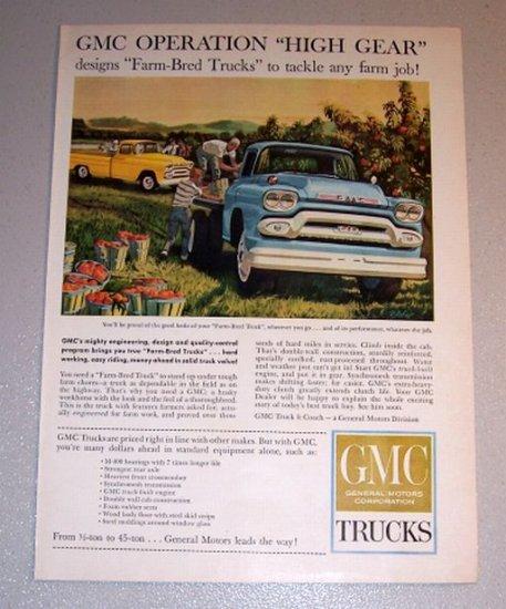 1959 Color Print Ad GMC 300 Farm Pickup Truck Harvesting Art