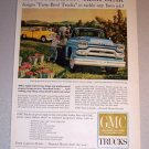 1959 Color Print Ad GMC 300 Farm Pickup Truck Harvesting Art