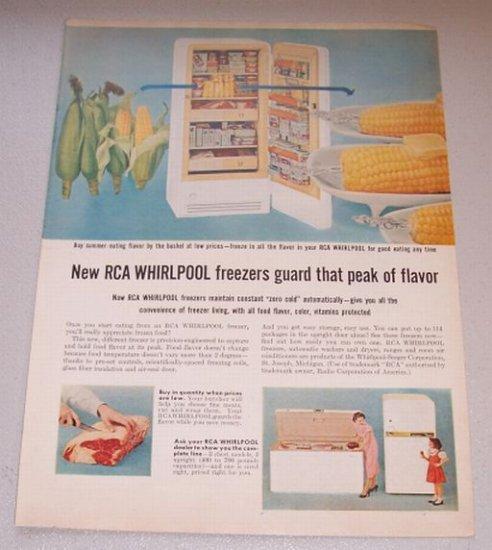 1956 Color Print Ad RCA Whirlpool Upright Freezer