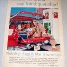 1958 Color Print Beverage Ad 7UP Soda Drink Machine