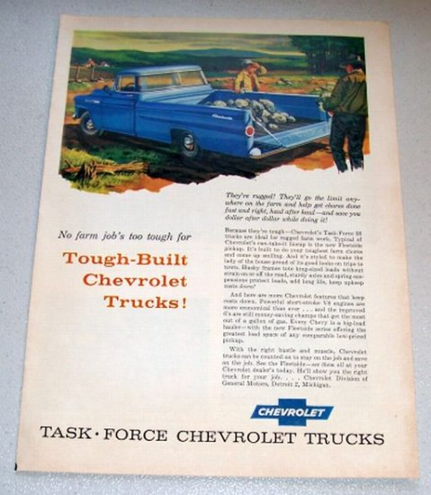 1958 Color Art Print Truck Ad Chevrolet Fleetside Pickup