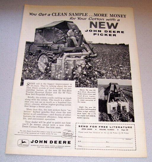 1958 Farm Print Ad John Deere 22 One Row Mounted Picker