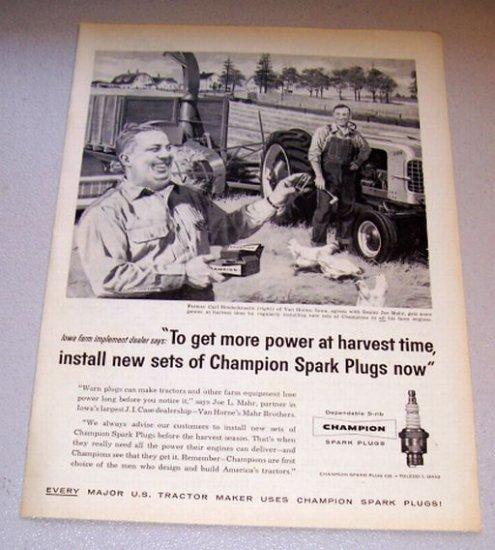 1958 Print Ad Champion Spark Plugs Farming Art Carl Rinderknecht Van Horne Iowa