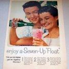 1958 Color Print Beverage Ad 7UP Soda Ice Cream Float