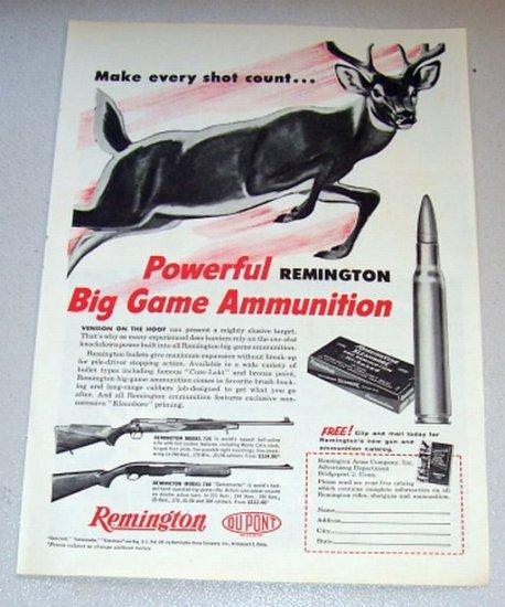 1958 Print Ad Kleanbore 280 Remington Hi-Speed Shell Cartridge Deer Animal Art