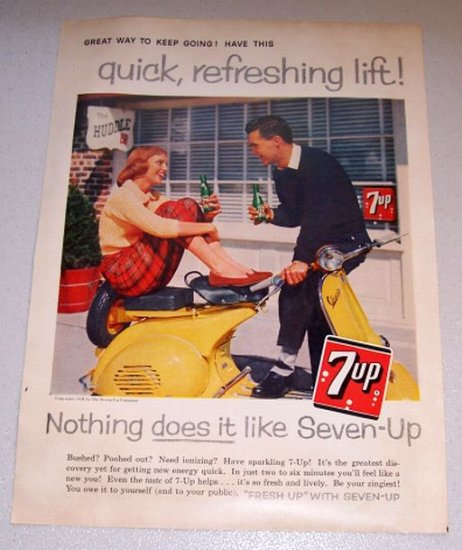 1958 Color Print Beverage Ad 7UP Soda Vespa Moped Scooter