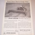 1958 Farm Print Ad John Deere LF Lime Fertilizer Distributor Farm Implement