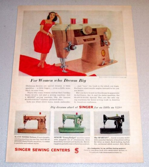 1960 Color Print Ad Singer Slant-O-Matic Sewing Machine