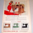 1960 Color Print Ad Singer Slant-O-Matic Sewing Machine