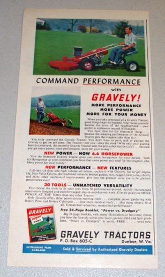 1961 Color Print Ad Gravely Riding Lawn Tractor