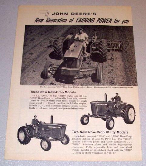 1961 Print Ad John Deere 2010 3010 Row Crop Utility Farm Tractors