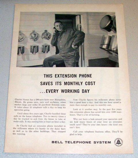 1961 Print Ad Bell Telephone System Charles Nemet Hampshire Illinois