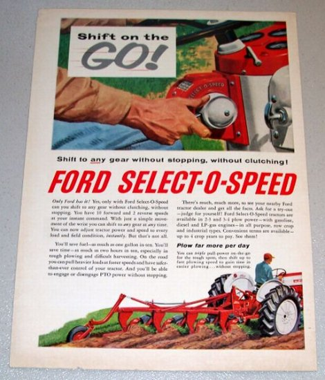 1961 Color Art Print Ad Ford Select-O-Speed Farm Tractor