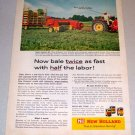 1961 Color Print Farm Ad New Holland Super Hayliner 69 Square Baler
