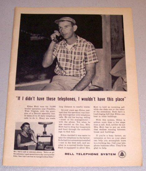 1961 Print Ad Bell Telephone System Eldon Hott Franklin West Virginia