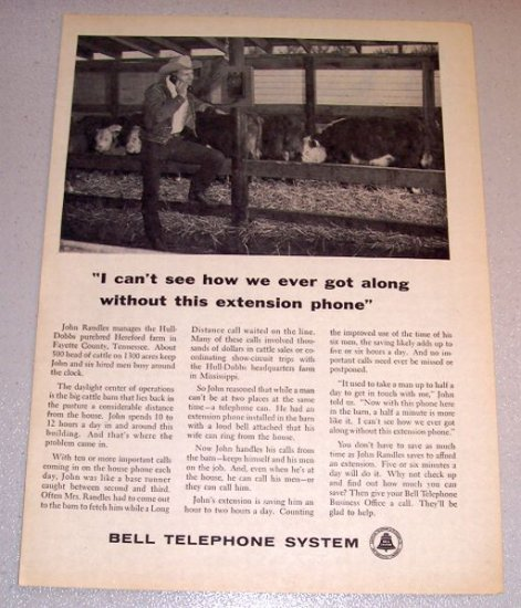 1961 Print Ad Bell Telephone System John Randles Fayette County Tennessee