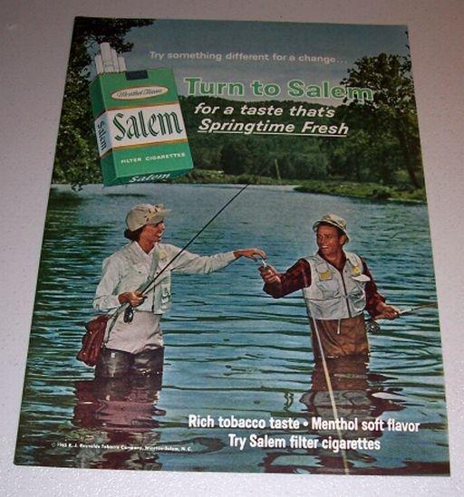 1965 Color Print Ad Salem Cigarettes Fly Fishing