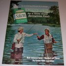 1965 Color Print Ad Salem Cigarettes Fly Fishing