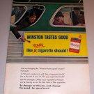 1966 Color Print Ad Winston Cigarettes Tobacco Bus Billboard