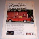 1966 Color Print Ad Red Ford Pickup Truck Horse Barn