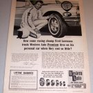 1966 Print Ad Western Auto Tires Stock Car Racing Celebrity Fred Lorenzen
