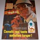 1966 Color Print Art Ad Camel Cigarettes Tobacco Men and Steel