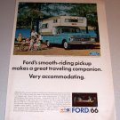 1966 Color Print Ad Ford Pickup Truck Camper Special