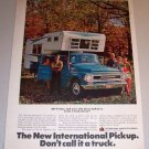 1968 Color Print Ad International Travelette Camper Pickup Truck