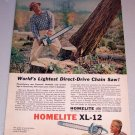 1964 Color Print Ad Homelite XL-12 Power Chain Saw