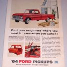 1964 Color Print Ad Red Ford 100 Custom Cab Pickup Truck Farm Fencing Art