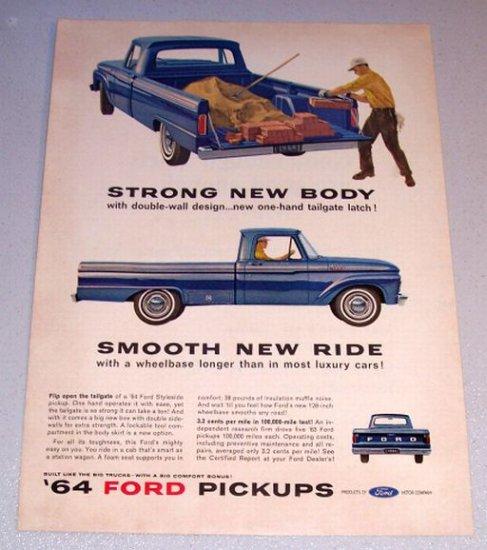 1964 Color Print Ad Blue Ford 100 Custom Cab Pickup Truck Brick Laying Art