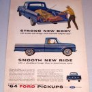 1964 Color Print Ad Blue Ford 100 Custom Cab Pickup Truck Brick Laying Art