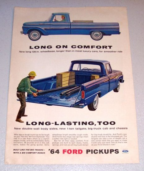 1964 Blue Ford 100 Styleside Custom Cab Pickup Truck Color Print Ad
