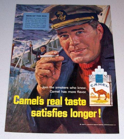 1965 Camel Cigarettes Color Print Art Ad Men Of The Sea