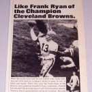 1965 Print Ad Duofold Underwear Football Celebrity Frank Ryan Cleveland Browns