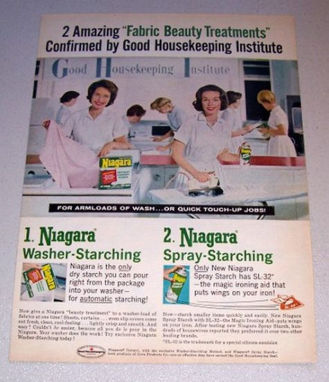 1962 Niagara Instant Laundry Starch Color Print Ad