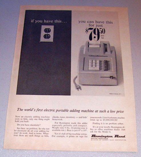 1962 Remington Rand Model 8 Electric Portable Adding Machine Print Ad