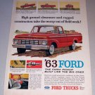 1963 Ford 100 Custom Cab Pickup Truck Color Print Ad