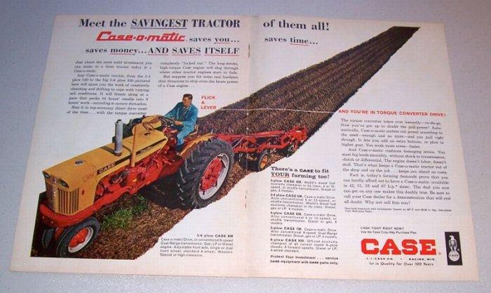 1962 Case 830 Farm Tractor 2 Page Color Print Ad