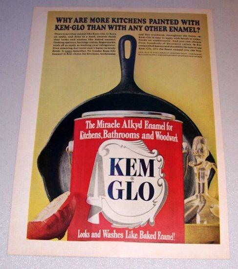 1963 Kem Glo Paint #8 Cast Iron Skillet Color Print Ad