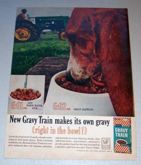 1963 Gravy Train Dog Food Farm Tractor Color Print Ad