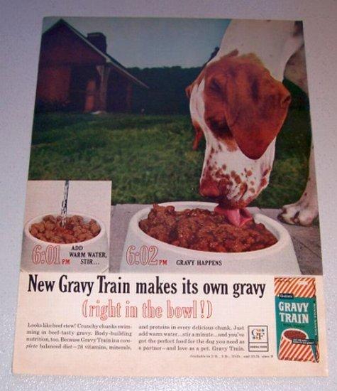 1963 Gravy Train Dog Food Barn Scene Color Print Ad