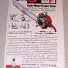1953 Color Print Ad Homelite Model 5-30 Chain Saw