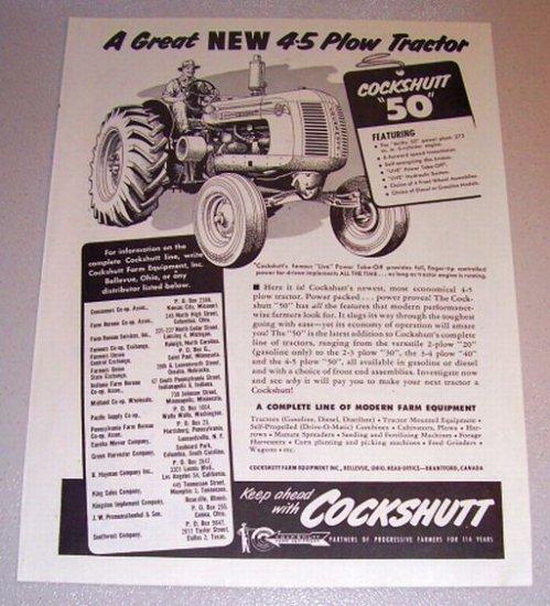 1953 Print Ad Cockshutt 50 Farm Plow Tractor