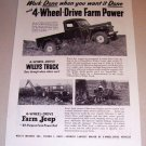 1953 Print Ad Jeep Willys 4 Wheel Drive Truck